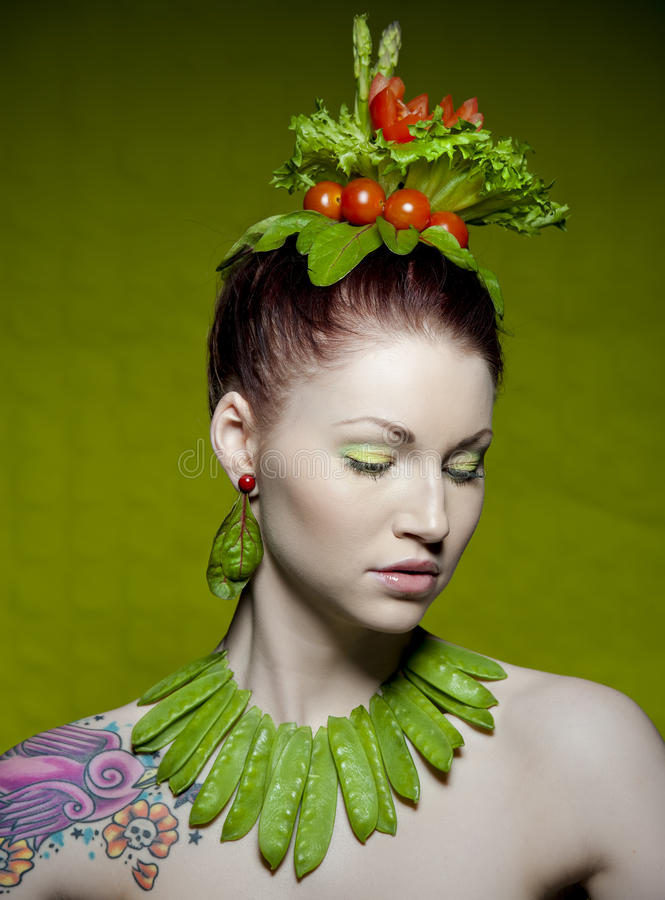 Download Vegetarian fashion stock photo. Image of female, makeup - 18078104