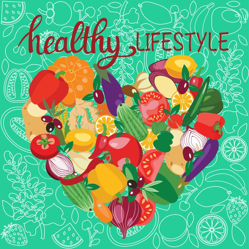 Vegetarian food collection and quotes Healthy lifestyle stock illustration