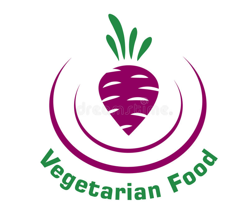 Vegetarian food icon with beetroot. Vegetarian food icon depicting a fresh raw beetroot enclosed in a double curve with the text stock illustration