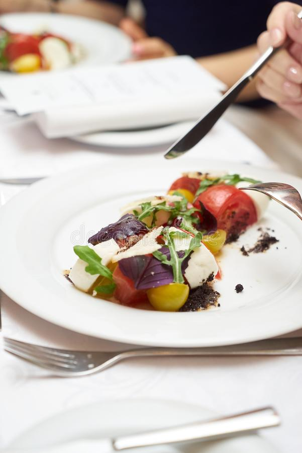 Vegetarian food with marinated tomatoes, arugula, mozzarella che. Ese, balsamic jelly, olive oil. Delicious healthy food concept, close-up stock photography