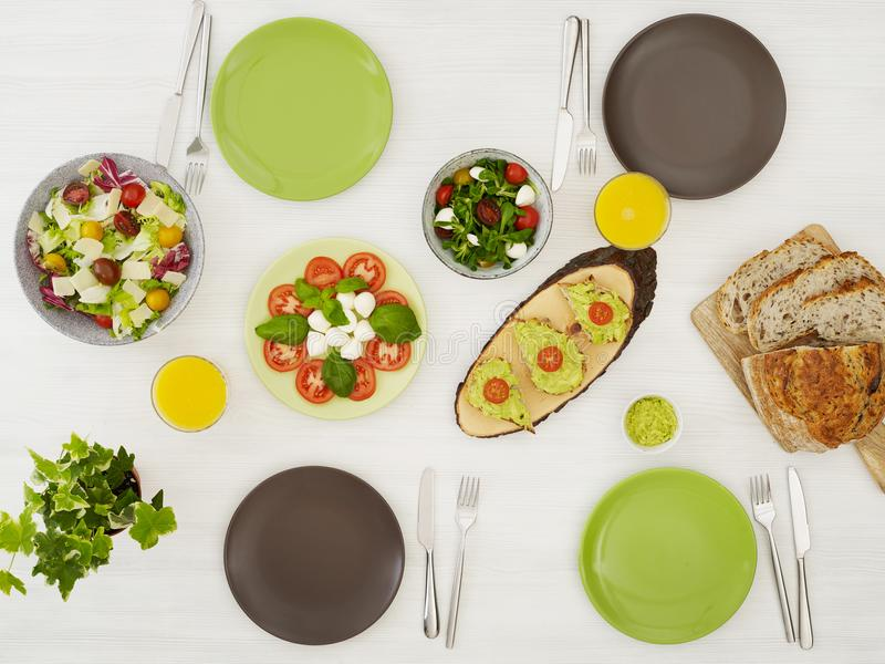 Vegetarian food table royalty free stock photo