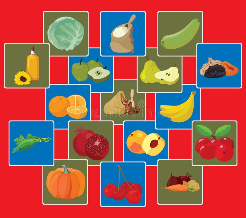 Vegetables, fruits, berries, cereals, oil. Vegetarian foods: Vegetables, fruits, berries, cereals, oil. For your convenience, each significant element is in a royalty free illustration
