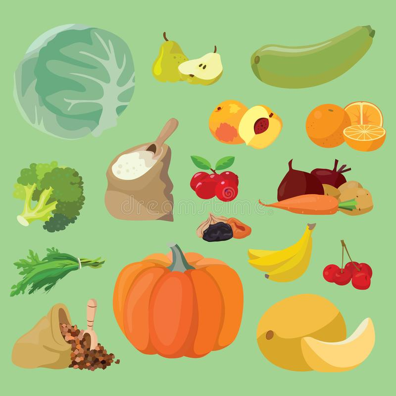 Vegetables, fruits, berries, cereals. Vegetarian foods: Vegetables, fruits, berries, cereals. For your convenience, each significant element is in a separate vector illustration