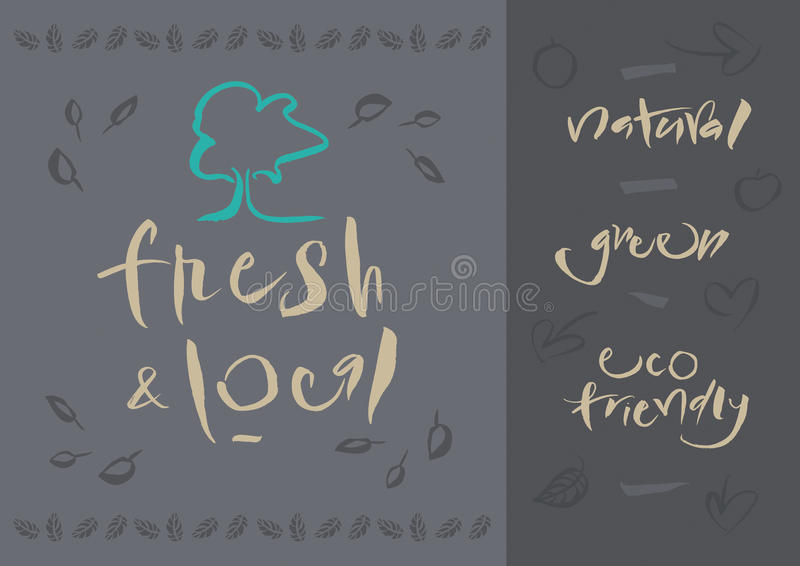 Vegetarian - Fresh & Local - Calligraphy stock photography