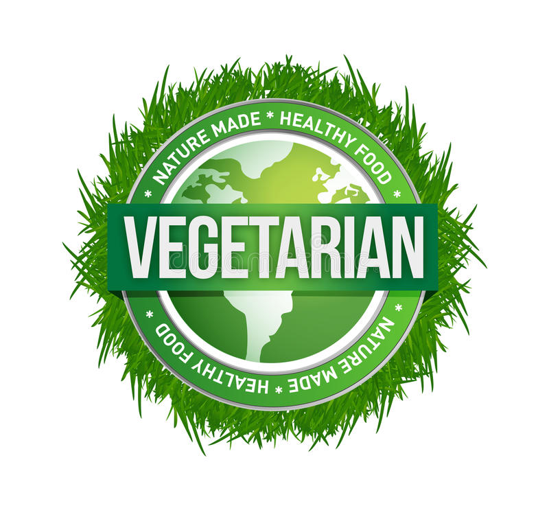 Vegetarian green seal illustration design royalty free stock photos