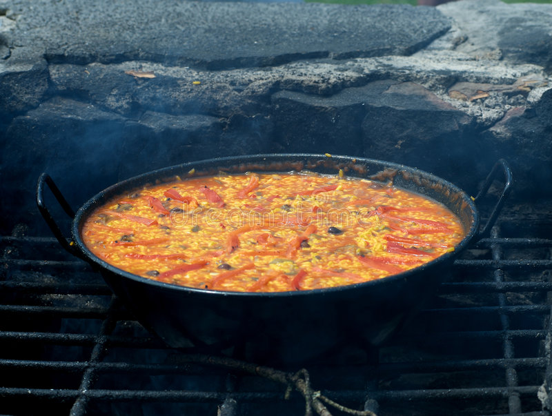 Vegetarian grill paella royalty free stock photography