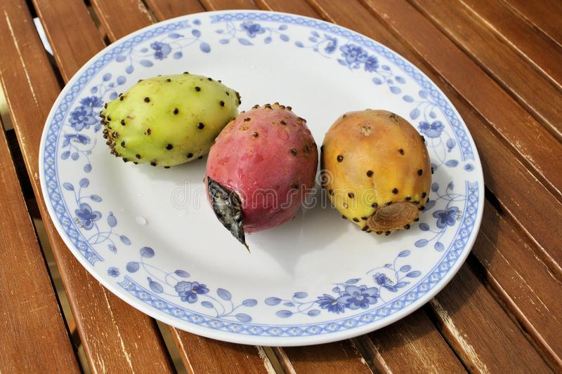 Vegetarian healthy exotic gourmet colored opuntia prickly pear royalty free stock image