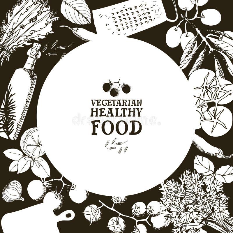Vegetarian healthy food Design card Hand drawing illustration. Set royalty free illustration