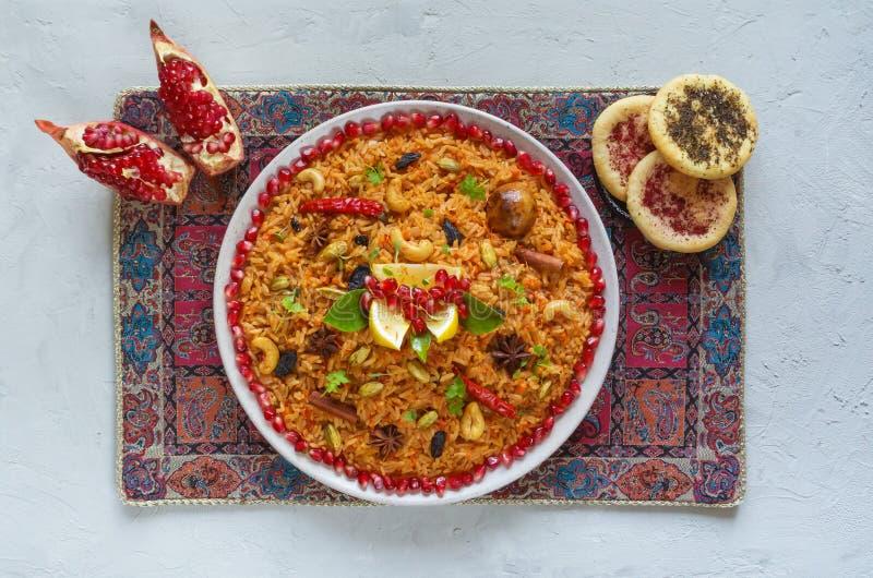 Vegetarian Hyderabadi Dum Biryani. Ramadan food. stock images