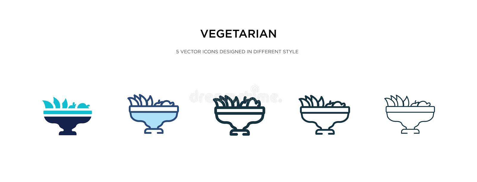 Vegetarian icon in different style vector illustration. two colored and black vegetarian vector icons designed in filled, outline. Line and stroke style can be vector illustration