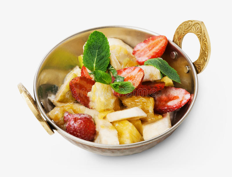 Vegetarian indian restaurant dish, fresh fruit and strawberry salad isolated stock photos