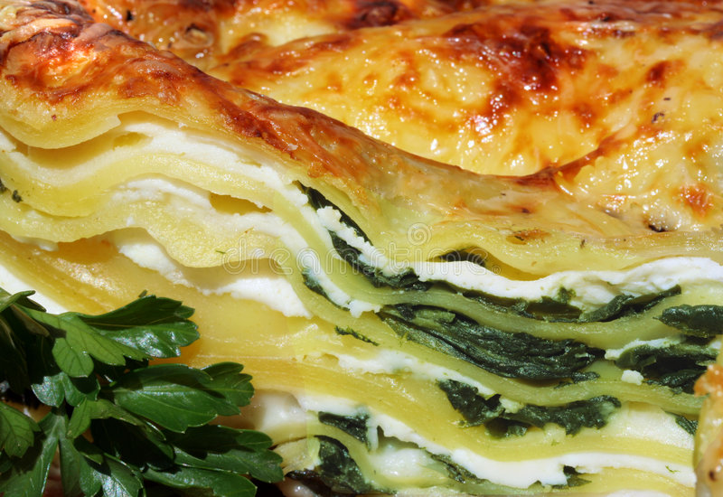 Vegetarian Lasagna With Ricotta And Spinach Stock Photo ...