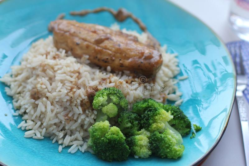 Vegetarian lunch. With rice, filé and broccoli on a turquoise plate stock images