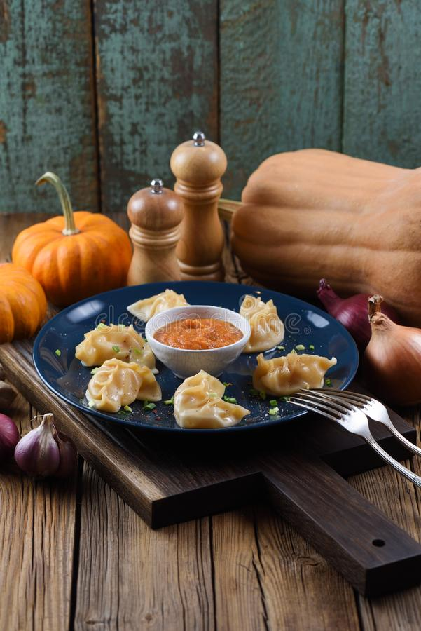 Vegetarian meal. Asian steam dumplings with curry sauce served w. Ith pumpkins and onion on rustic background with copyspace royalty free stock photo