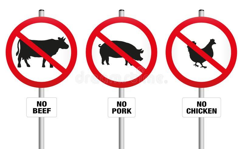 Vegetarian Meatless Prohibition Sign stock illustration