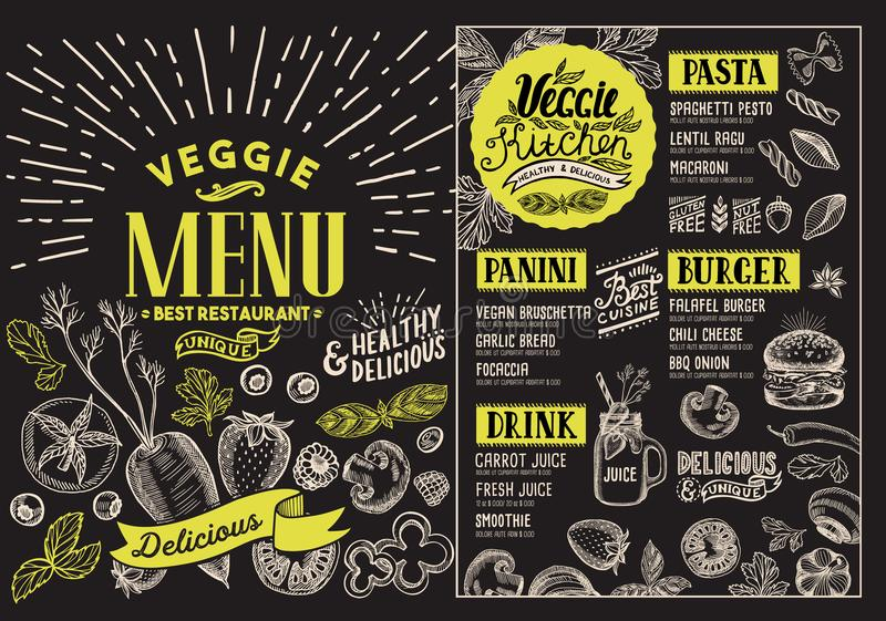 Vegetarian menu for restaurant. Vector food flyer for bar and ca. Fe. Design template with food hand-drawn graphic illustrations on blackboard background stock illustration