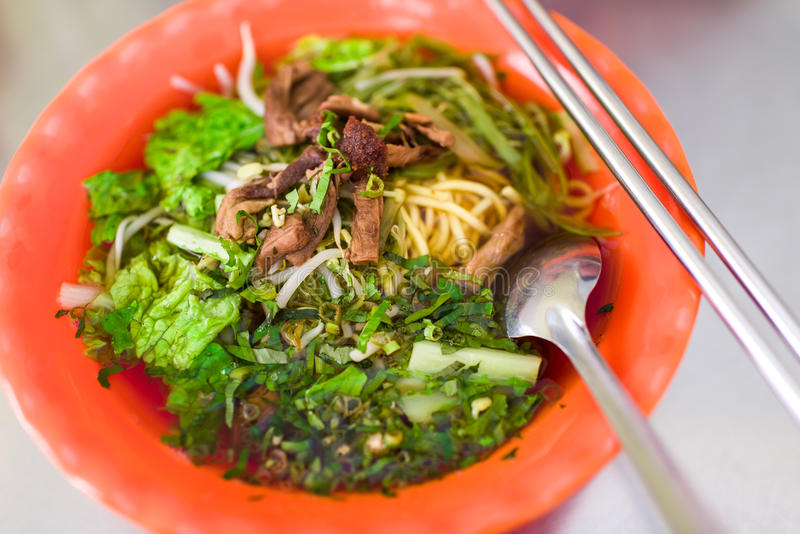 Vegetarian mushroom noodle soup stock photos