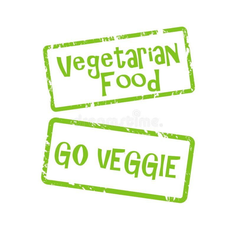 Vegetarian och går veggieknappar stock illustrationer