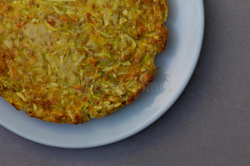 Vegetarian omelette of different vegetables with sunflower and s stock images