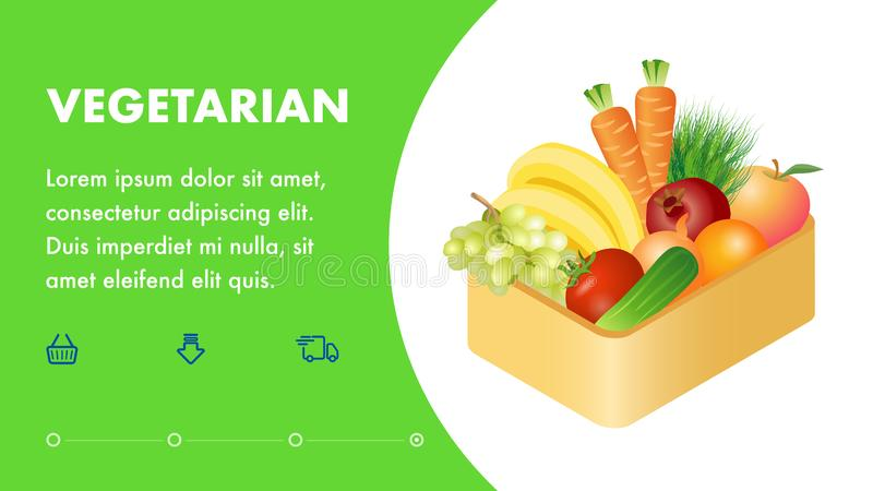 Vegetarian Online Store Landing Page Flat Template vector illustration
