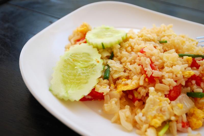 Vegetarian pineapple fried rice. Healthy Thai style vegetarian pineapple fried rice. Suitable for concepts such as diet and nutrition, healthy lifestyle, and stock image