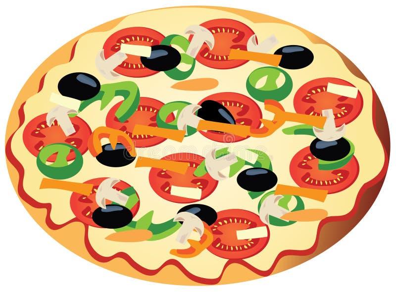 Download Vegetarian pizza stock vector. Image of brown, mushroom - 15279190