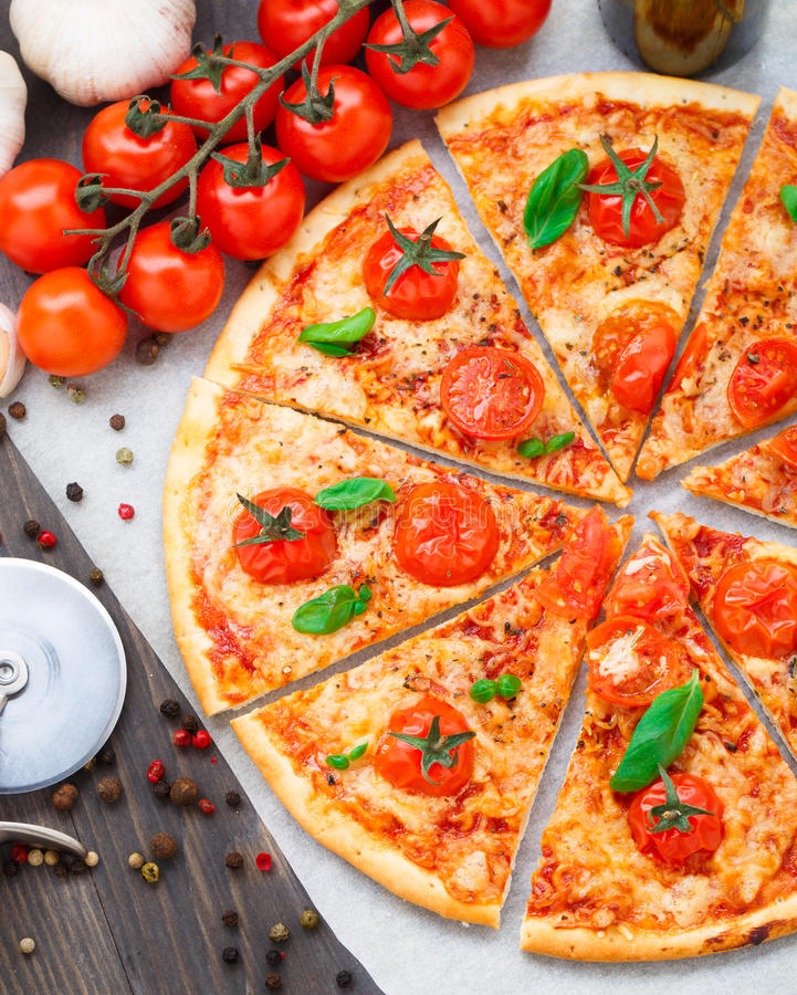 Vegetarian Pizza With Cherry Tomatoes Stock Photo