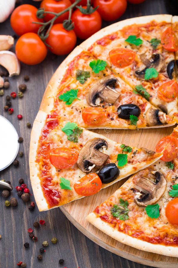 Download Vegetarian pizza stock image. Image of table, food, delicious - 39879247