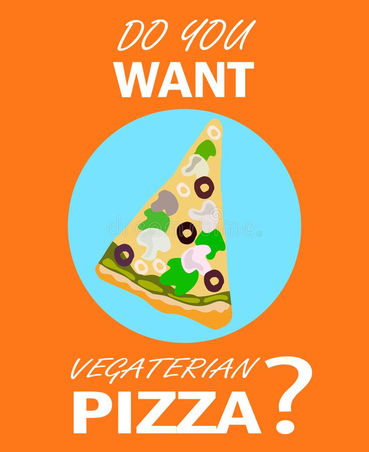 Vegetarian Pizzeria Cartoon Promotional Poster stock illustration