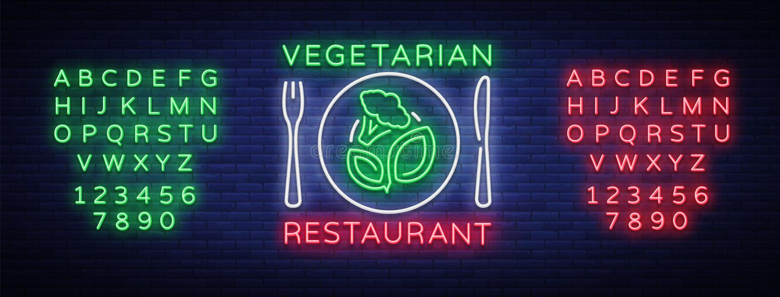 Vegetarian Restaurant Logo Neon Sign Vegan Symbol Bright Luminous
