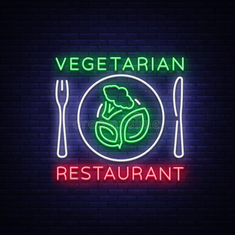 Vegetarian restaurant logo. Neon sign, vegan symbol, bright luminous sign, neon night advertising on the theme vector illustration