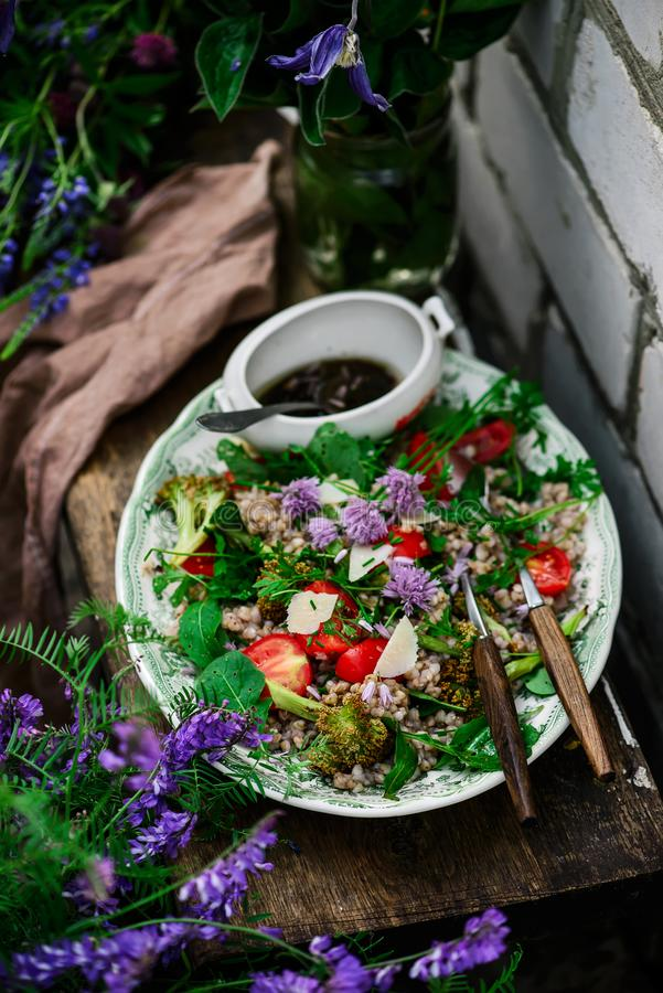 Vegetarian salad of green buckwheat royalty free stock photo