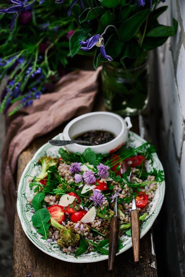 Vegetarian salad of green buckwheat stock photos