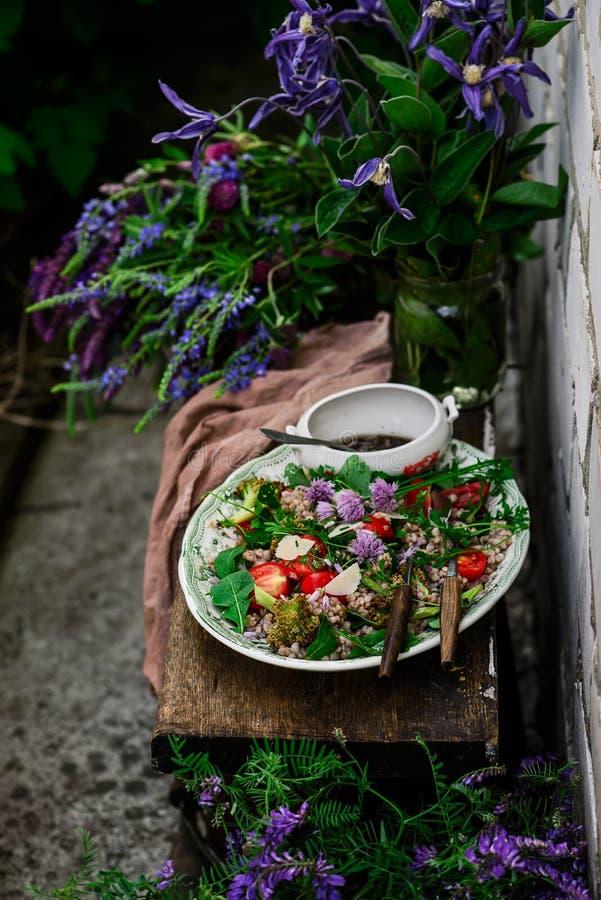 Vegetarian salad of green buckwheat stock images