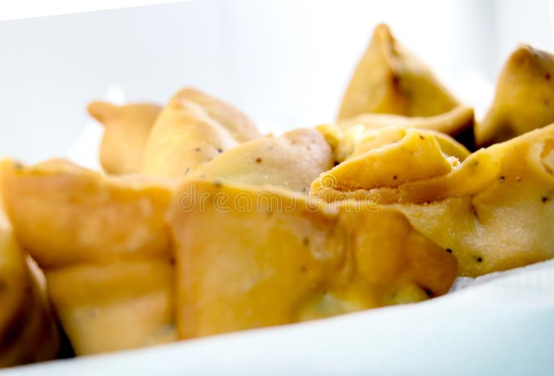 Indian special traditional street food. Vegetarian samosas filled with potato and green pea.Indian special traditional street food royalty free stock photography