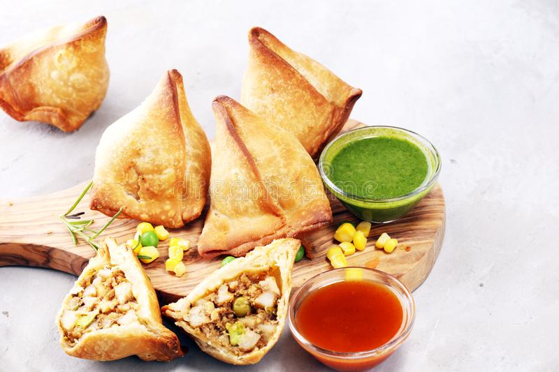 Vegetarian samsa or samosas.Indian special traditional street food punjabi samosa or Coxinha, Croquete and other Fried Brazilian stock images