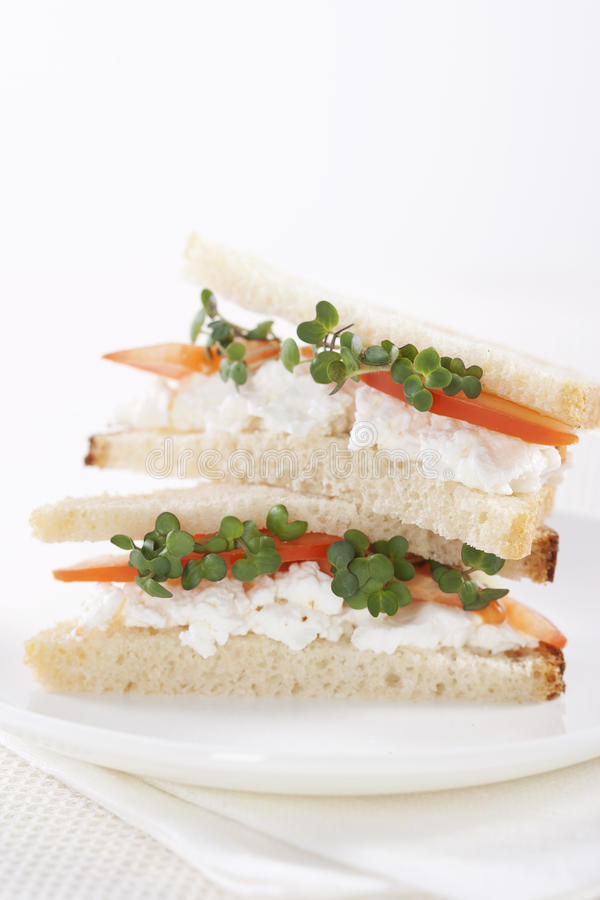 Vegetarian sandwiches. With cottage cheese, tomatoes and mustard sprouts royalty free stock image