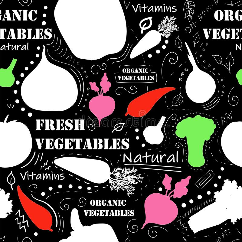 Vegetarian seamless pattern with carrot, tomato, radish, green peas, abstract elements. Colorful modern background. Vegetables on. Black background royalty free illustration