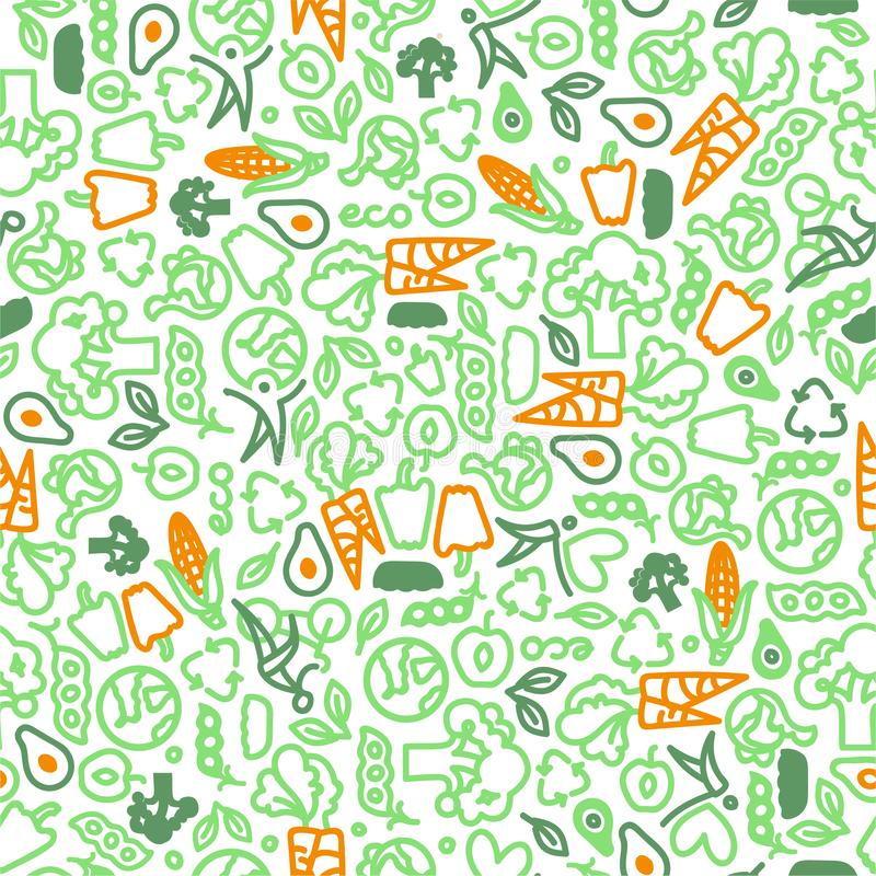 Vegetarian seamless pattern of green vegetables. Food vector pattern. Green and orange vector illustration
