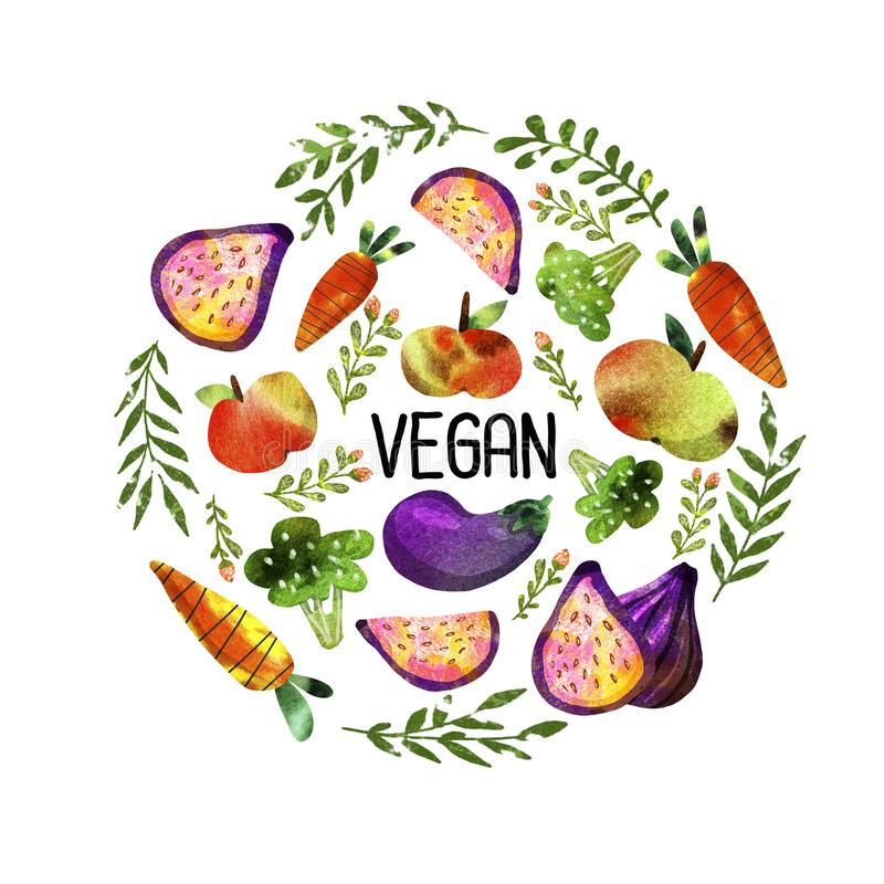 Vegetarian set with vegetables and fruits stock illustration