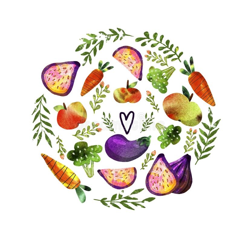 Vegetarian set with vegetables and fruits royalty free illustration