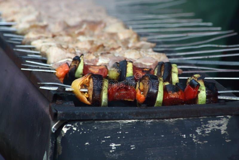Vegetarian shashlik on charcoal grill close up stock images