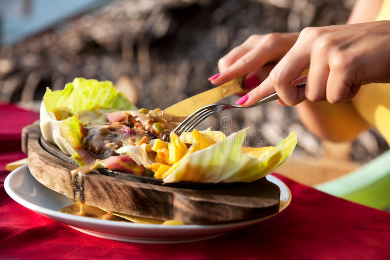 Vegetarian sizzler stock image