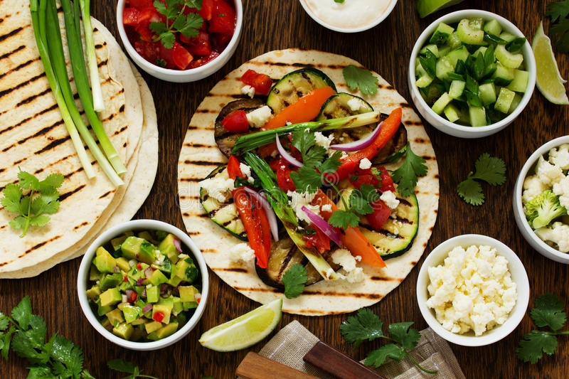Vegetarian snack tacos royalty free stock photography