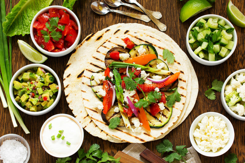 Vegetarian snack tacos royalty free stock images