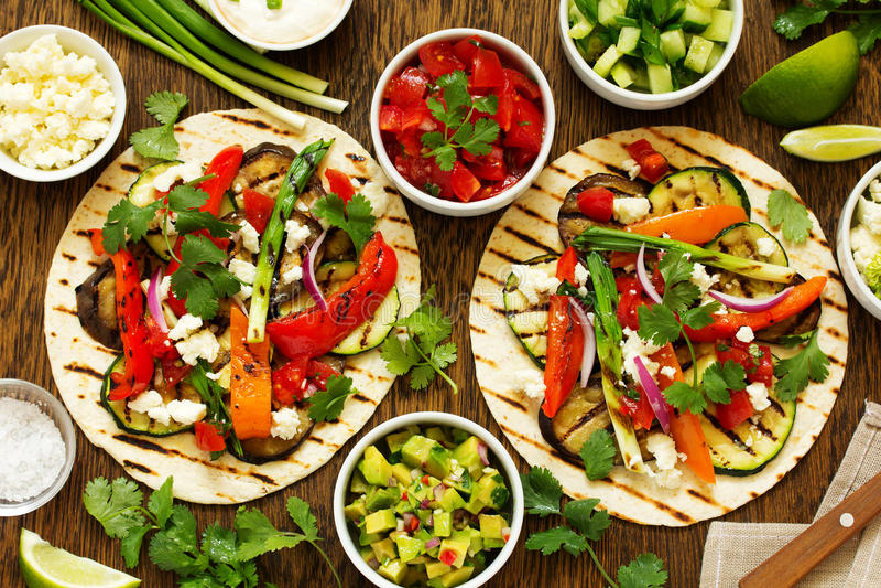 Vegetarian snack tacos stock image