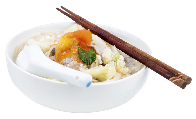 Vegetarian soup noodles royalty free stock images