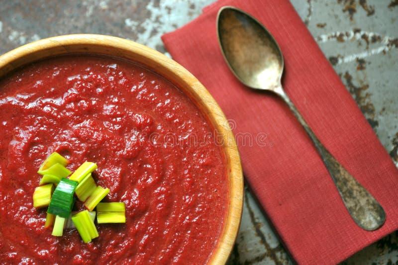Vegetarian, sund mat med den organiska beta och morotsoppa arkivfoto