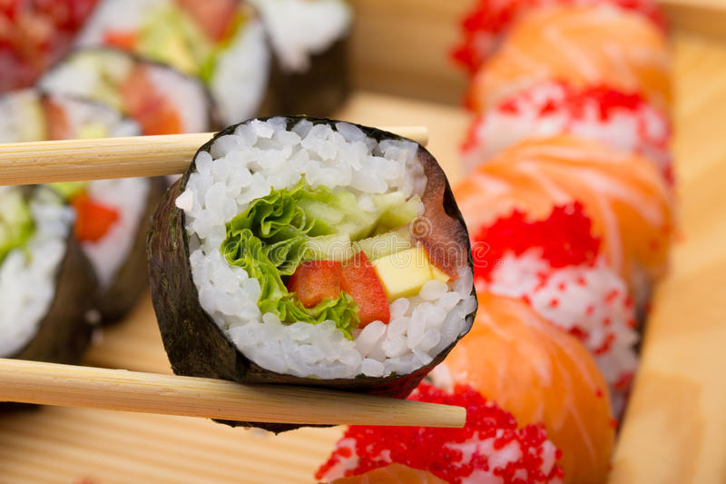 Download Vegetarian sushi roll stock image. Image of healthy, cucumber - 34620047