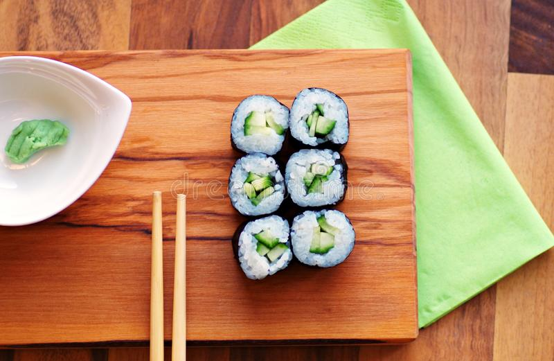 Vegetarian sushi roll royalty free stock images